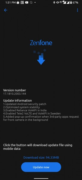 Asus ZenFone 6/6z get VoWiFi and March patch with new update