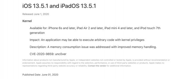 iOS 13.5.1 is out to fix a flaw that enabled jailbreaking, iPadOS 13.5.1 and watchOS 6.2.6 join it
